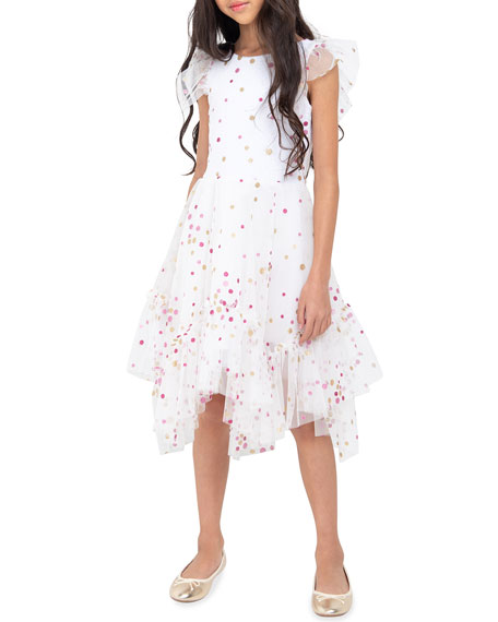 Image 1 of 1: Girl's Sparkle Dot Mesh Dress, Size 4-6X