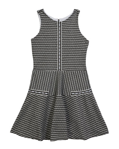 Girl's Brooke Striped Knit Tweed Skater Dress  Size 7-16