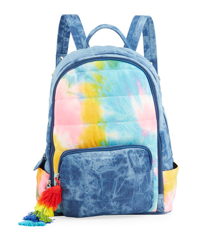 Girl's Acid-Washed Denim and Tie-Dye Quilted Backpack