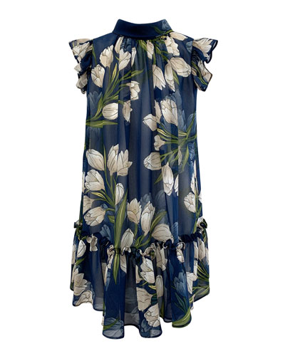 Girl's Tulip-Print Chiffon Dress  Size 7-14