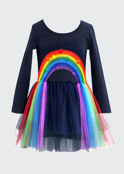 Girl's Rainbow Pompom Tulle Dress  Size 4-6X