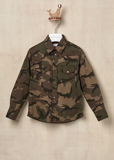 Kid Boys' Cotton Army Printed Horn Button Shirt