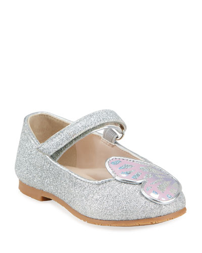 Girl's Butterfly Glitter Grip-Strap Flats, Baby/Toddlers