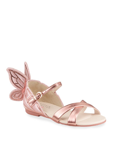 Girl's Chiara Metallic Embroidered Wings Sandals, Toddler/Kids