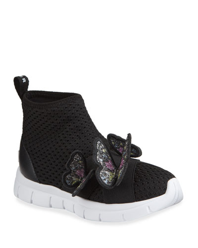 Girl's Riva Mid-Top Knit Sneakers w/ 3D Butterflies, Baby/Toddler/Kids