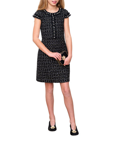 Girl's Tweed Cap-Sleeve Sheath Dress  Size 8-14
