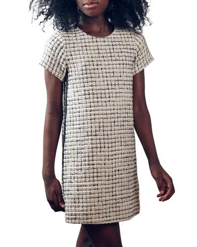 Girl's Billie Metallic Tweed Side-Stripe Dress  Size 7-16