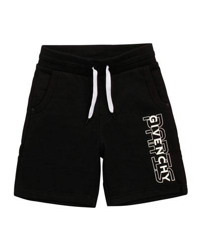 Boy's Drawstring Printed Logo Shorts, Size 4-10