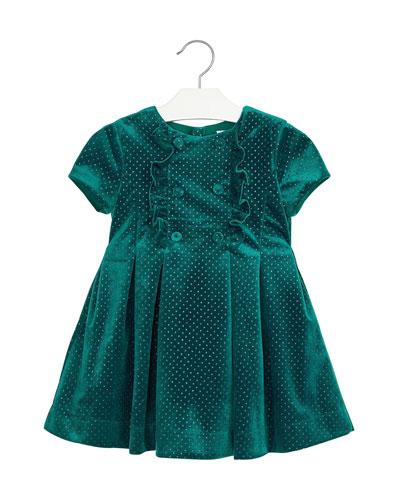 Girl's Velour Ruffle Glitter Dress  Size 4-8