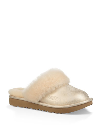 Girl's Cozy II Metallic Slippers w/ Shearling Trim, Toddler/Kids