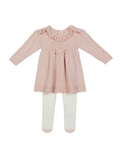 Girl's Pointelle Ruffle Sweater Dress Outfit Set  Size 3-9M