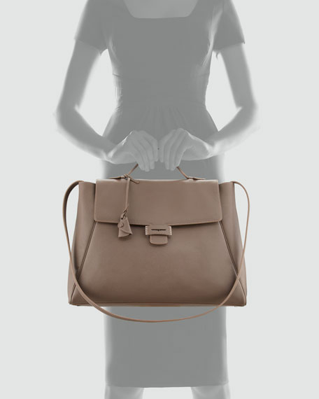 Byron Saffiano Flap Handbag, Taupe