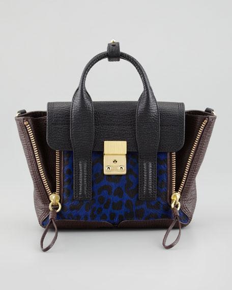 Pashli Mini Leopard-Print Tote Bag, Blue
