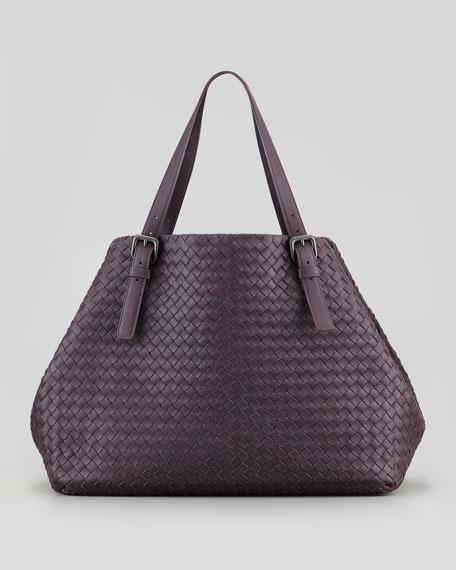 Large Double-Strap A-Shape Tote Bag, Plum