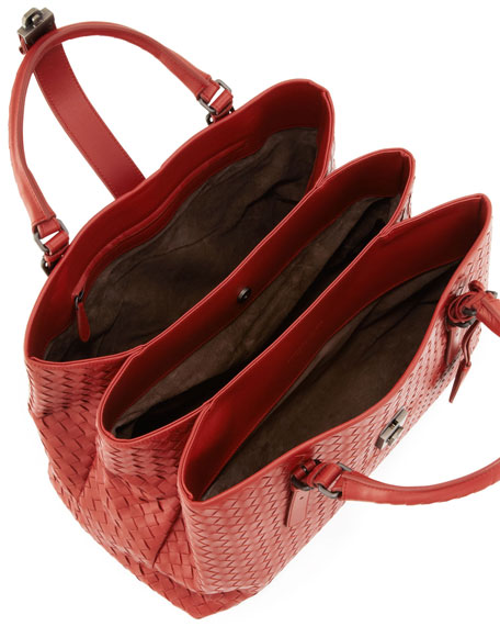 Roma Triple-Compartment Tote Bag, Red Brown