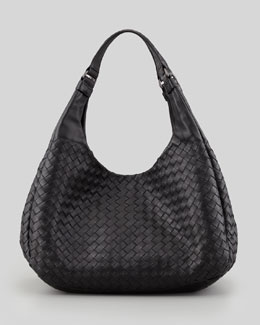 Bottega Veneta Woven Compania Medium Bag, Black