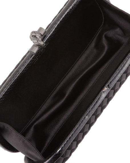 Satin-Snakeskin E/W Knot Minaudiere, Black