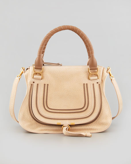 Marcie Medium Nubuck Satchel Bag, Beige