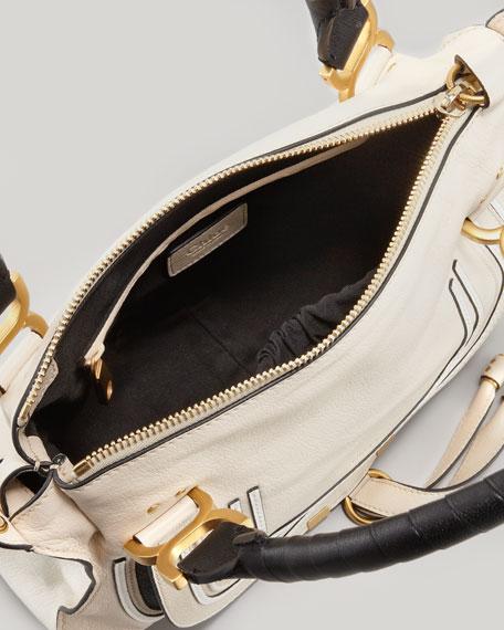 Marcie Medium Satchel Bag, White/Black