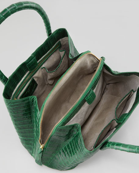 Crocodile Medium Trapezoid Tote Bag, Green