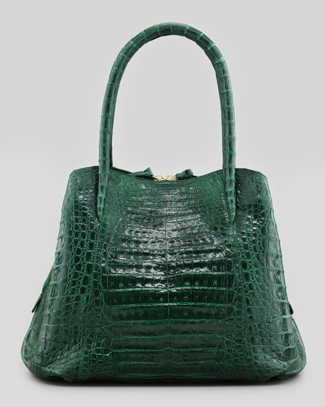 Crocodile Medium Trapezoid Tote Bag, Green