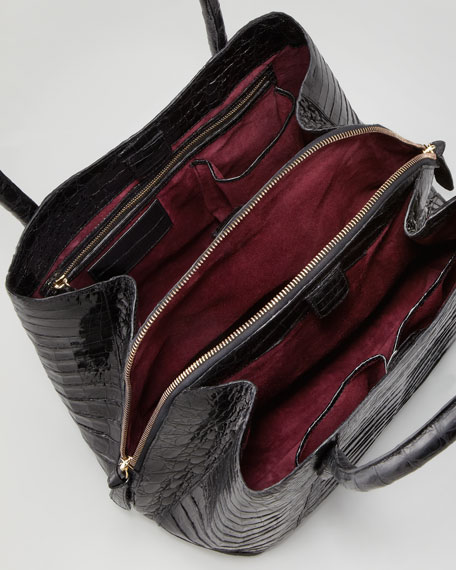 Shiny Crocodile Compartmentalized Tote Bag, Black