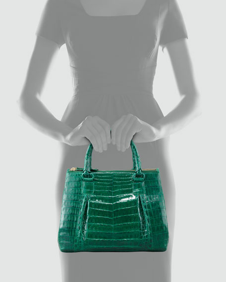 Small Double-Zip Pleated Crocodile Tote Bag, Medium Green