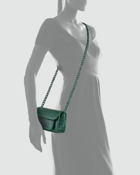 Crocodile Compartmentalized Flap Crossbody Bag, Green