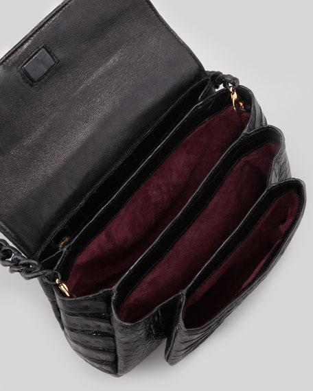 Crocodile Compartmentalized Crossbody Bag, Black