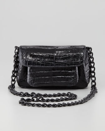 Crocodile Compartmentalized Crossbody Bag, Black