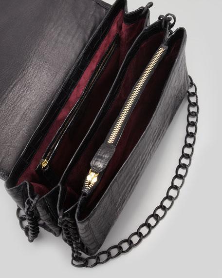 Soft Double-Chain Medium Shoulder Bag, Black