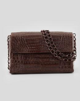 Soft Double-Chain Medium Shoulder Bag, Dark Brown