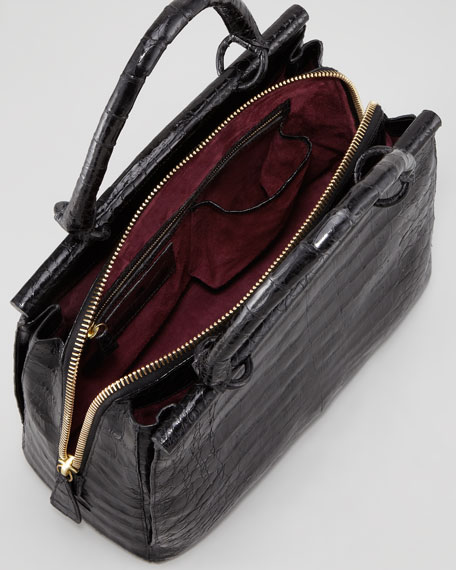Small Glossy Crocodile Bar Tote Bag, Black