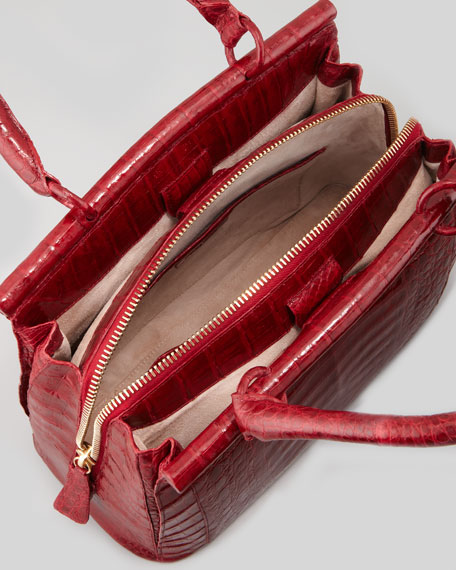 Small Crocodile Bar Tote Bag, Red