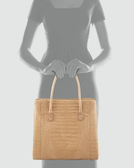 Large Structured North-South Tote Bag, Navy