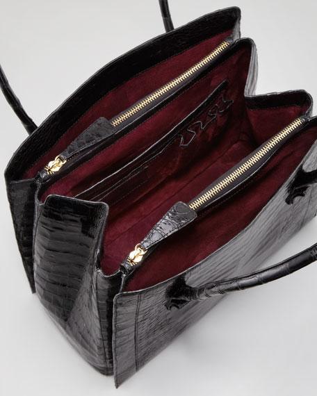 North-South Crocodile Tote Bag, Black