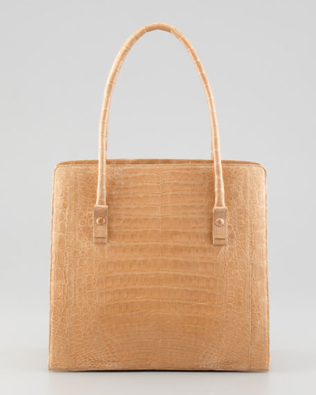 North-South Medium Crocodile Tote Bag, Beige