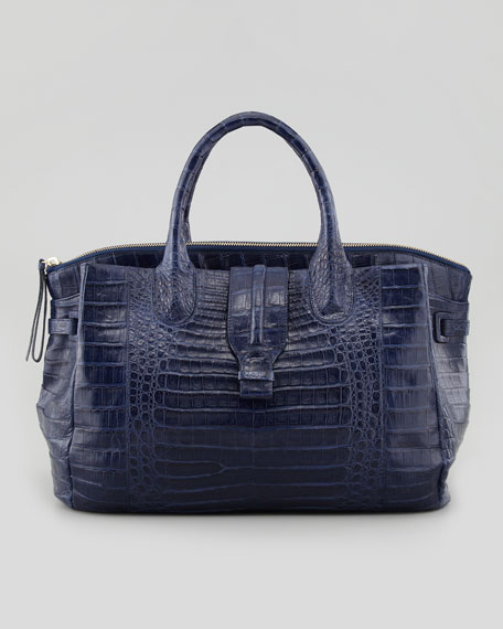 Cristina Crocodile Shoulder Tote Bag, Navy