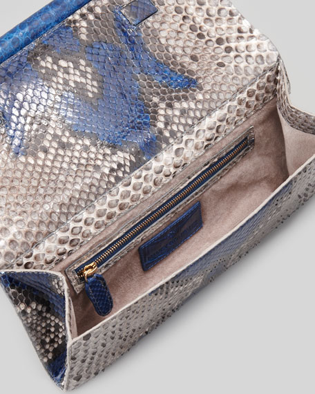Python Crocodile-Bar Clutch Bag, Ocean