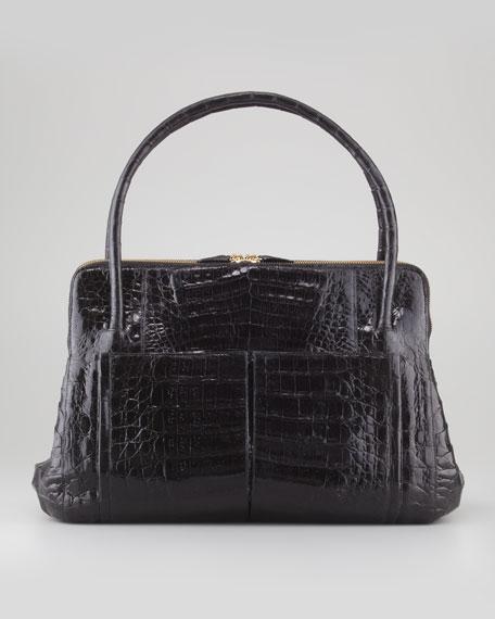 Linda Medium Crocodile Satchel Bag, Black Patent