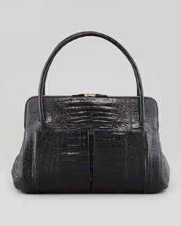 Linda Medium Crocodile Satchel Bag, Black