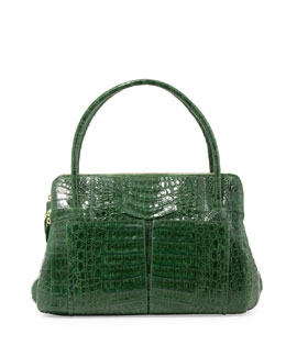 Linda Medium Crocodile Tote Bag, Green