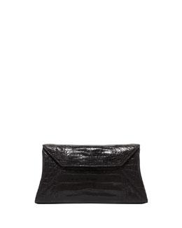 Crocodile Trapezoid Clutch Bag, Black