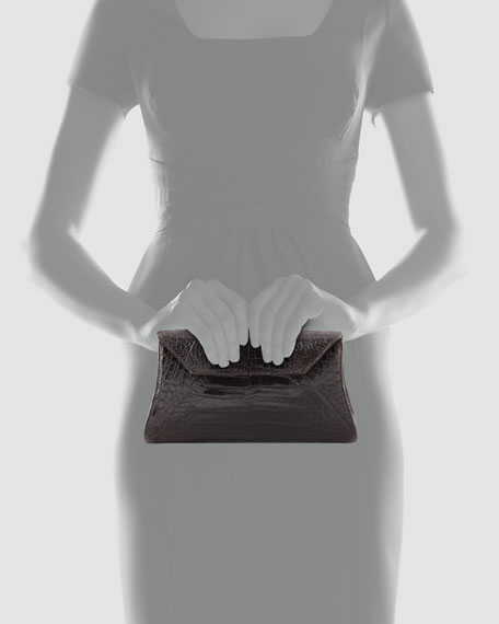 Crocodile Trapezoid Envelope Clutch Bag, Chocolate