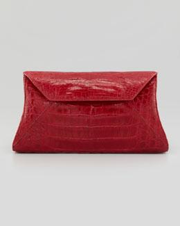 Crocodile Envelope Clutch Bag, Red