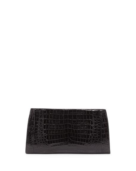 Razor Crocodile Clutch Bag, Black