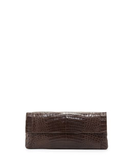 Crocodile Fold-Over Clutch Bag, Dark Brown