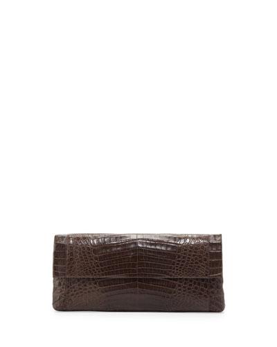 Crocodile Fold-Over Clutch Bag, Dark Brown