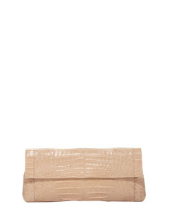 Crocodile Long Back-Pocket Flap Clutch, Beige