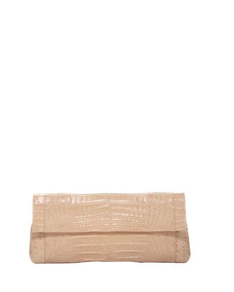 Crocodile Long Back-Pocket Flap Clutch, Beige